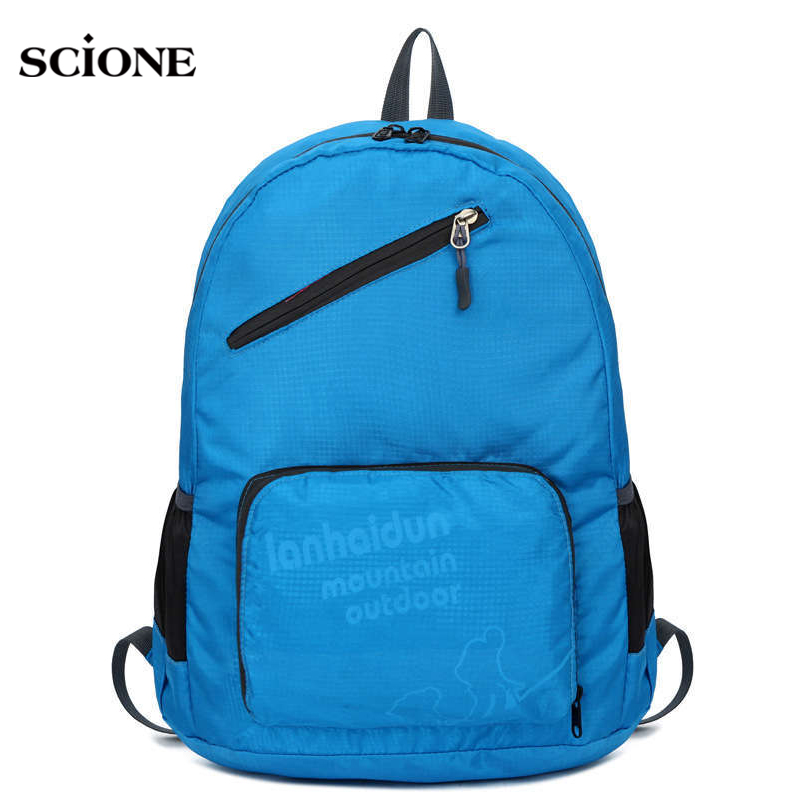 Scione Ultra-light Foldable Outdoors Sports Backpack for Teenage Girls Boys Travel Rucksack Skin Beach School Bags Mochila X400A