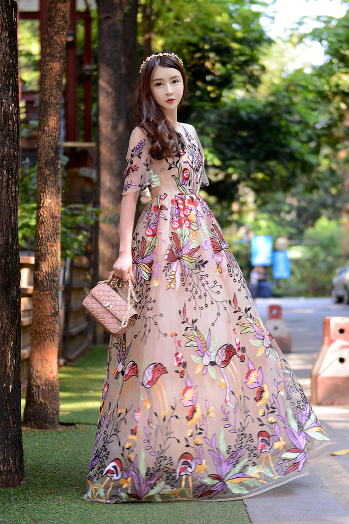 b3ab17af2c73 US $41.47 32% OFF|HAMALIEL Boho Stil Sommer Lange Kleid 2018 Luxus  Embroidey Floral Mesh Kurzarm Dame Frauen Urlaub Strand Party Maxi Kleid in  ...