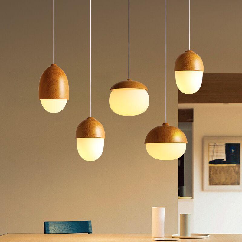 Nuts Acorn Small Mushrooms hanging lamp glass Milky Ball Wood grain Iron modern pendant lamp led Pine cone pendant light lw41724 Pendant Lights     - title=