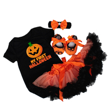 Newborn Baby Halloween Clothes Pumpkin Letter Short Sleeve Rompers Tulle Skirts My First Toddler Girl Clothing Sets