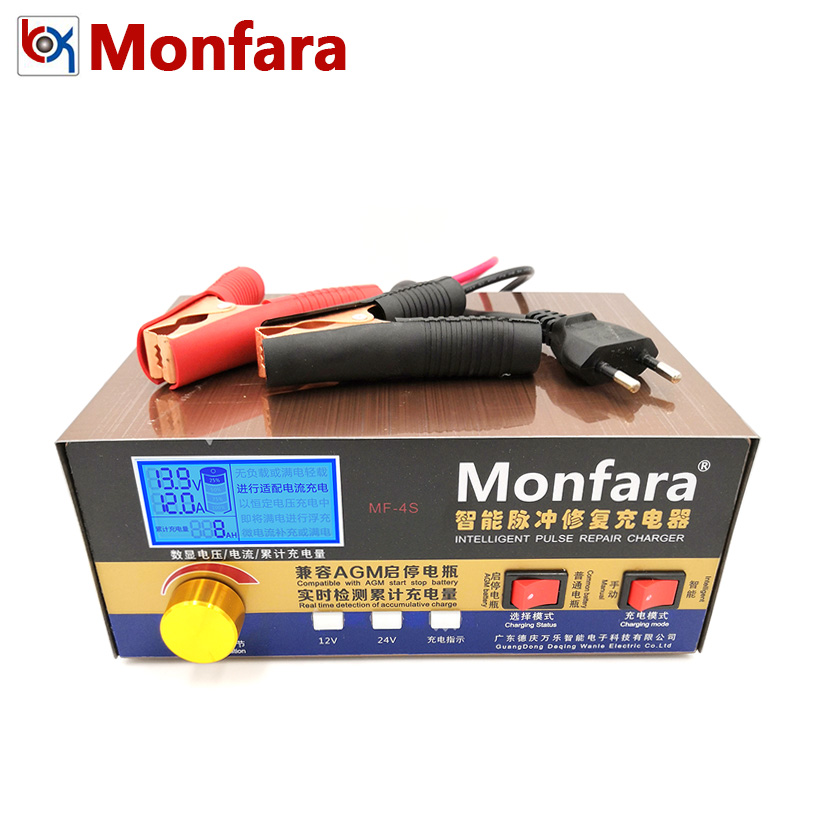 Monfara 12V 24V Car Motorcycle Lead Acid Calcium CA GEL AGM Jump Start Stop Battery Charger LCD Display 12 V 24 Volt 100A 200A
