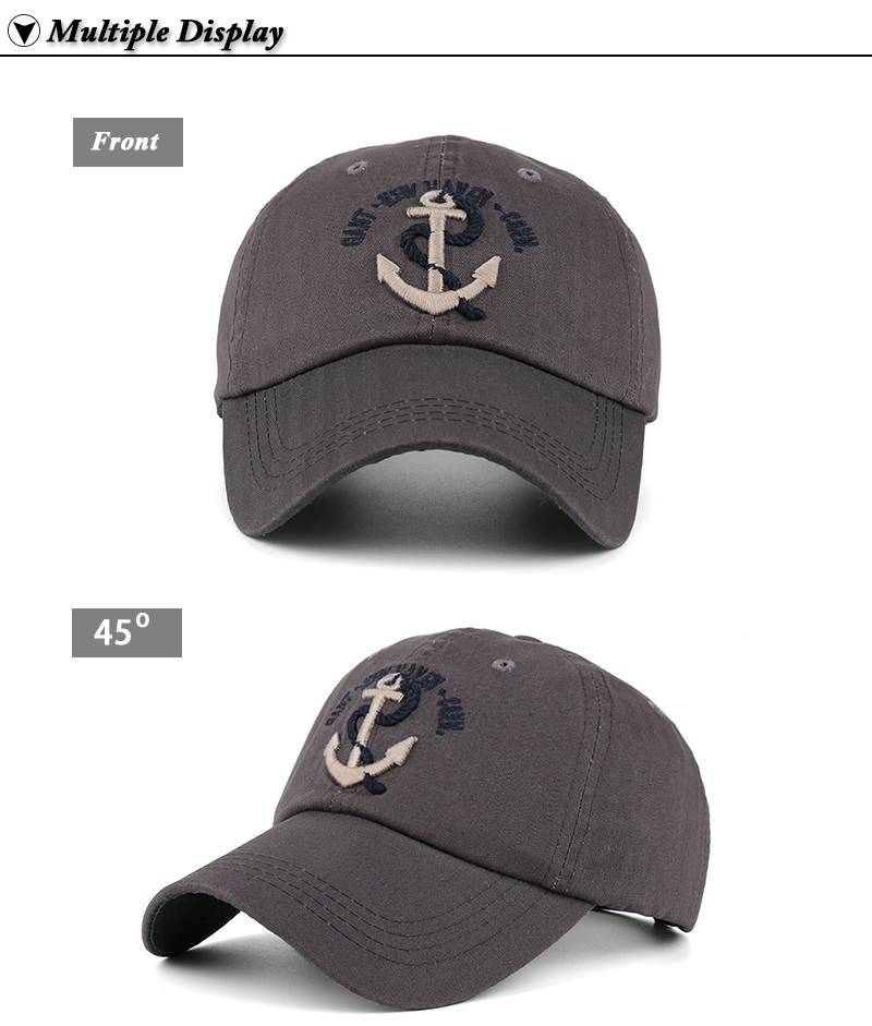 Embroidered Anchor & Rope Baseball Cap - Front and Angle Views
