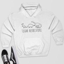 Skuggnas Team Herbivore Sweatshirt Vegetarian Black White or Grey Hoody Vegan Hoodie Gifts for Vegan Long Sleeve Fashion Hoodie