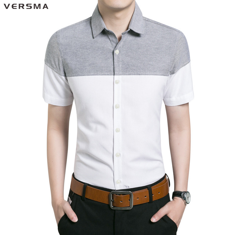 VERSMA 2017 New Arrival Slin Fit Cotton Social Shirt Men Short Sleeve Chemise Homme Camisas Masculina Luxury Designer Men Shirt