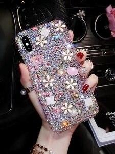 Image 4 - Luksusowe Bling diament etui na telefony dla Huawei Honor 7X 7C 7A 8 9 10 Lite 8X Max 8A Pro Rhinestone kryształ pokrywa Fundas Coque