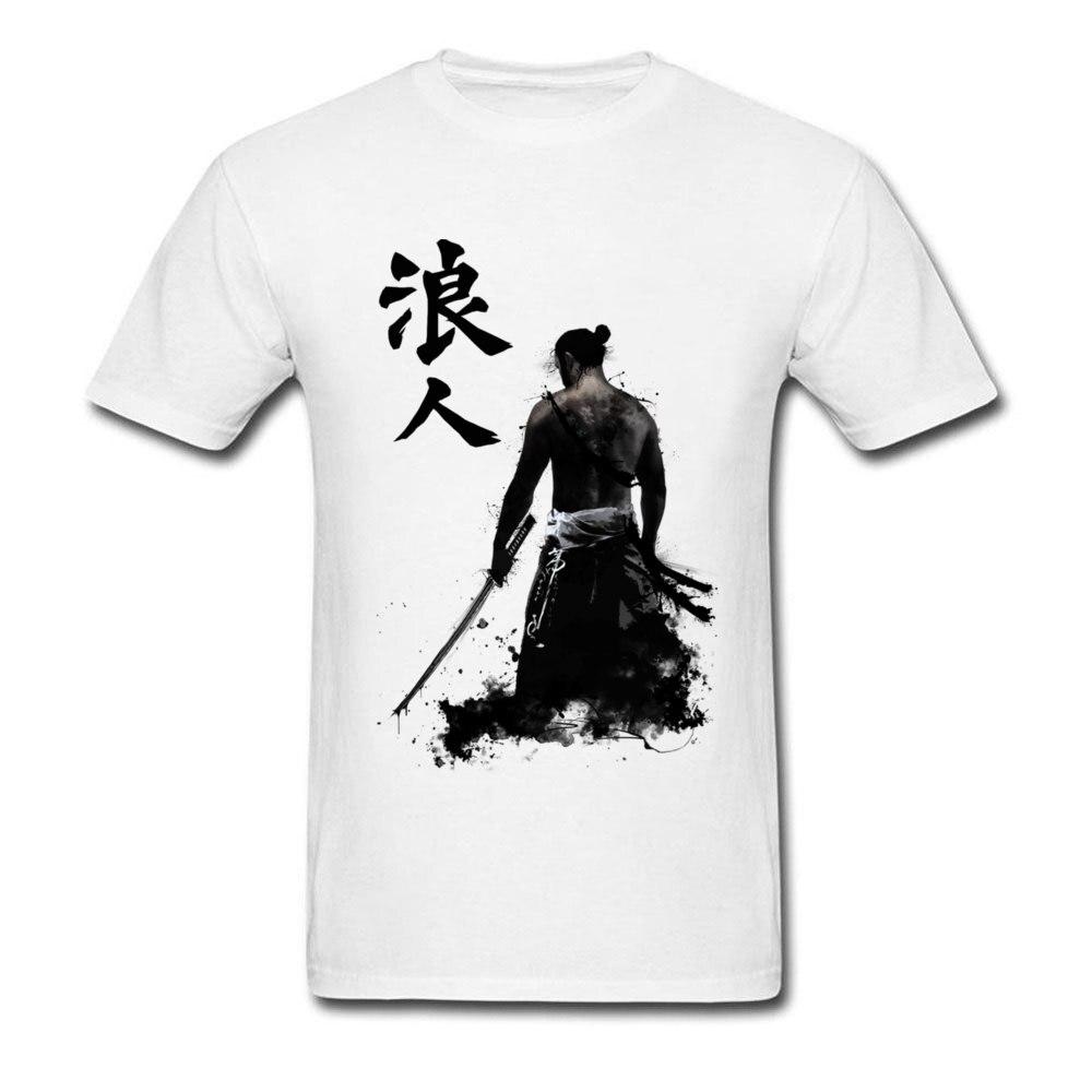 Ronin 3D Printed T-shirts for Men 100% Cotton Summer Tops T Shirt Custom Tee-Shirts Short Sleeve Prevalent Crew Neck Ronin white