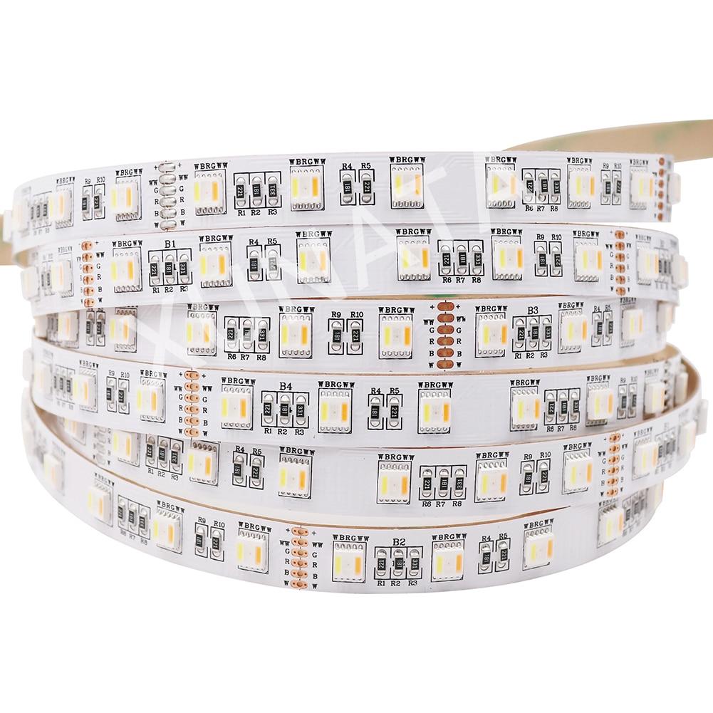 Nouveauté RGB + CCT LED bande 5050 60 LED/m 5 couleurs en 1 puce CW + RGB + WW RGBW RGBWW flexible bande légère corde DC 12 V 24 V
