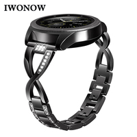 Diamond + Stainless Steel Watchband 20mm for Ticwatch 2 / E Withings Steel HR 40mm Samsung Gear Sport Jewelry Strap Watch Band