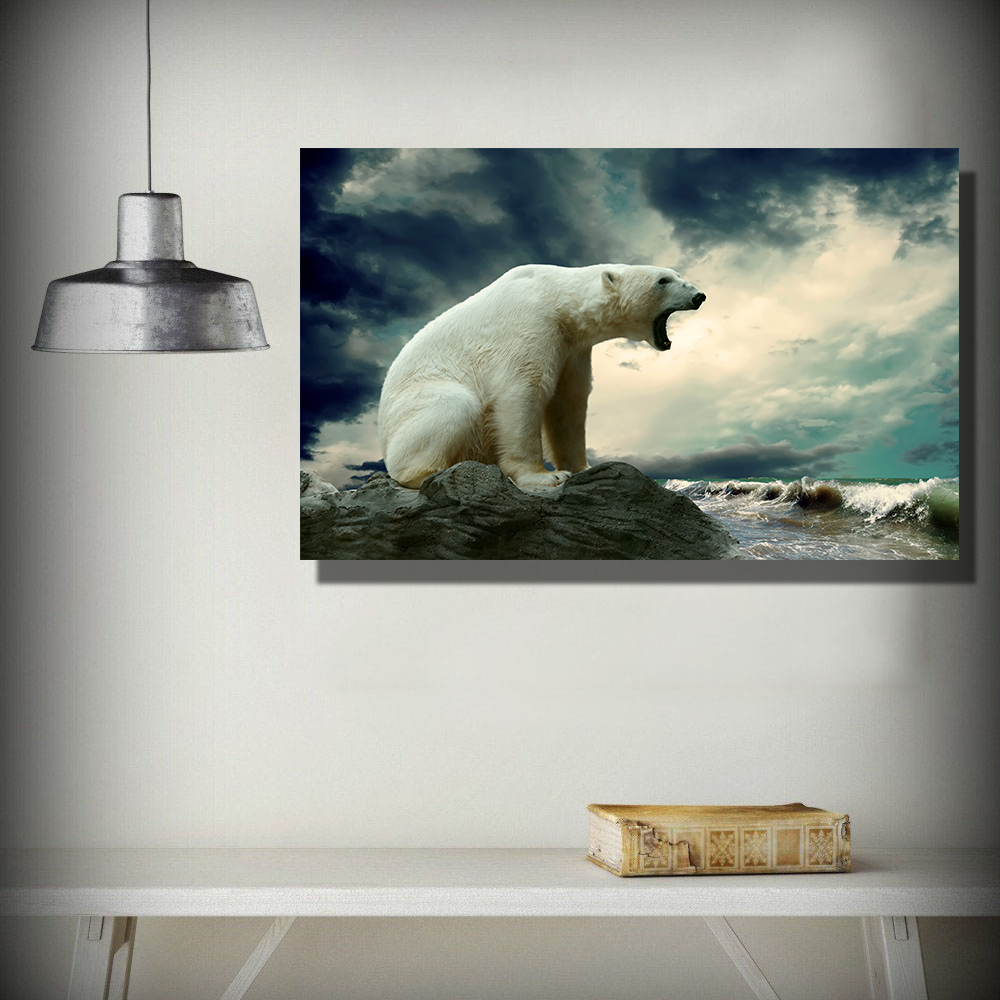 QKART no Frame Polar Bears Waves Nature animals Oil Painting Canvas ...