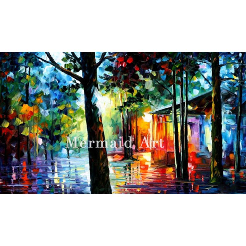 Hand Painted Landscape Abstract Palette font b Knife b font Modern Sunlight In The Drops Oil