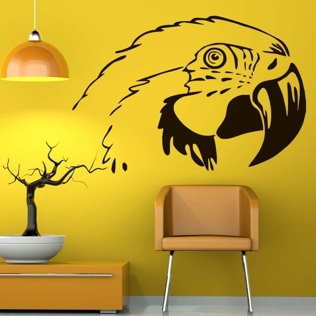 Black White Parrot Head Wall Stickers For Kids Room PVC Removable ...
