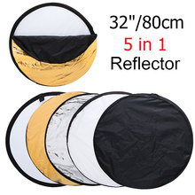 32″ 80cm 5 in 1 Round Photography/Photo Reflector New Portable Collapsible Light Round Reflector with Zipped Round Carrying Bag