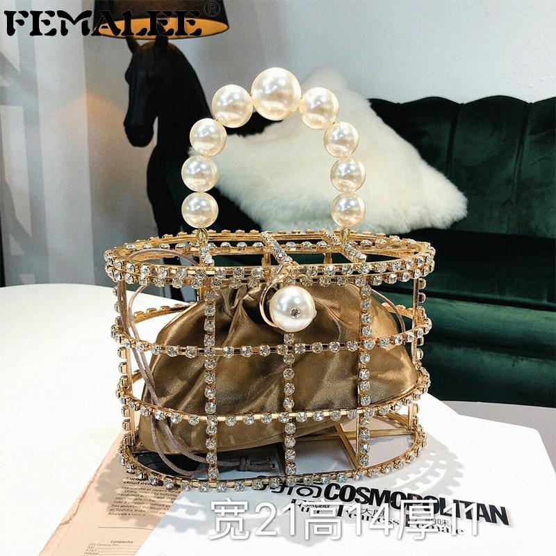Hollow Metallic Pearl Handbags Rhinestone Bird Cage Women Beading Box Totes Ladies Party Wedding Clutches Purses