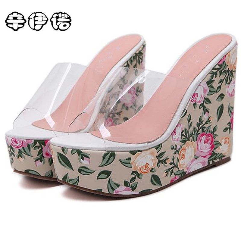 Summer Fashion High Heel Wedge Slippers PVC Clear Transparent Shoes Woman Platform Wedges Comfortable Crystal Sandals Sexy 13CM black women wedge slippers 12cm high heel platform pumps genuine leather shoes woman gladiator sandals slides wedges creepers