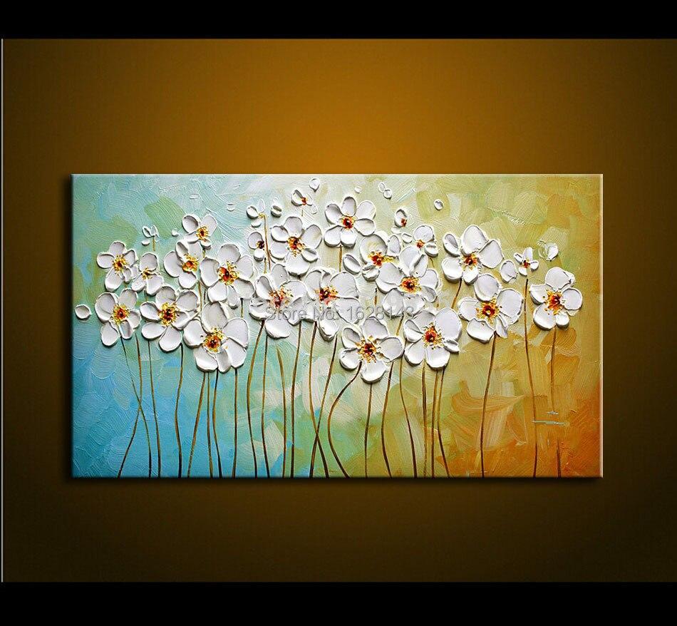 Konda Art Framed Handmade Purple Flower Oil Painting On: Handmade Textured Palette Knife White Snow Flowers Oil