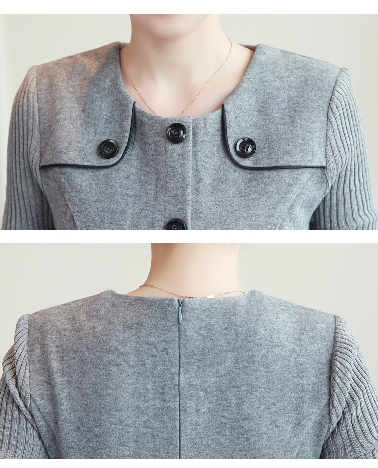 winter new round collar single-breasted cloth dress belt buttons A word women dresses Korean fashion outfit lady vogue vestido 38