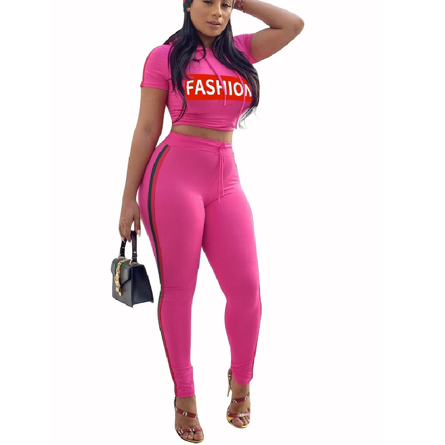 Hot Fashion 2 Piece Set Hooded Women Tracksuit Sportswear Casual Red Sweat Pants Hooded Cropped Sweatshirt Hoodie Short Sleeve