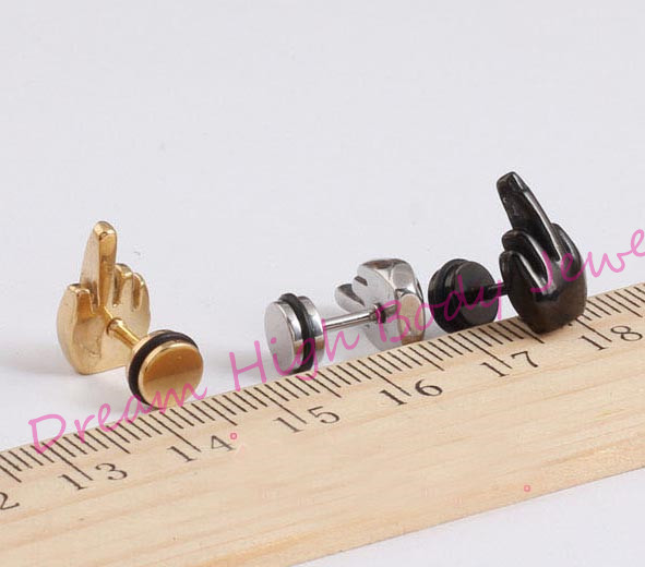 Rock Middle Finger Shape Men Earrings Summer Style Pierced Stainless Steel Jewelry For Women Girl High Quality