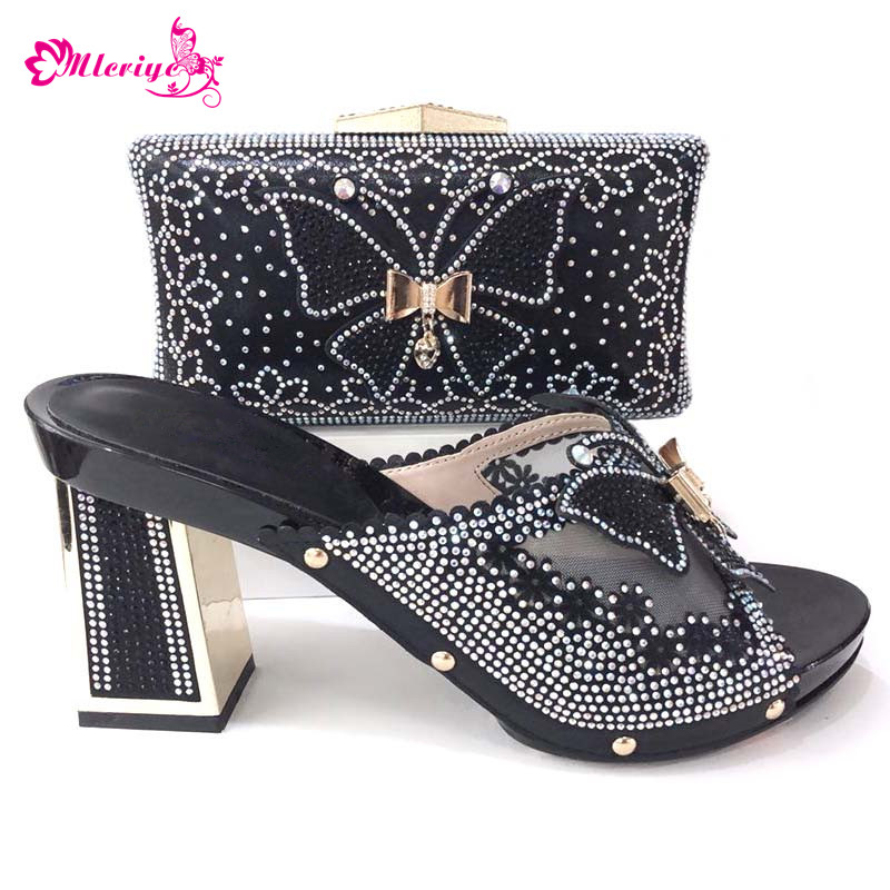 High Quality Fashion black Italian Shoes with Matching Bags Set African Wedding Shoe and Bag Set Party Shoes and Bag new fashion italian shoes with matching bags for party black color african shoes and bags set for wedding 10 cm shoe and bag set page 3