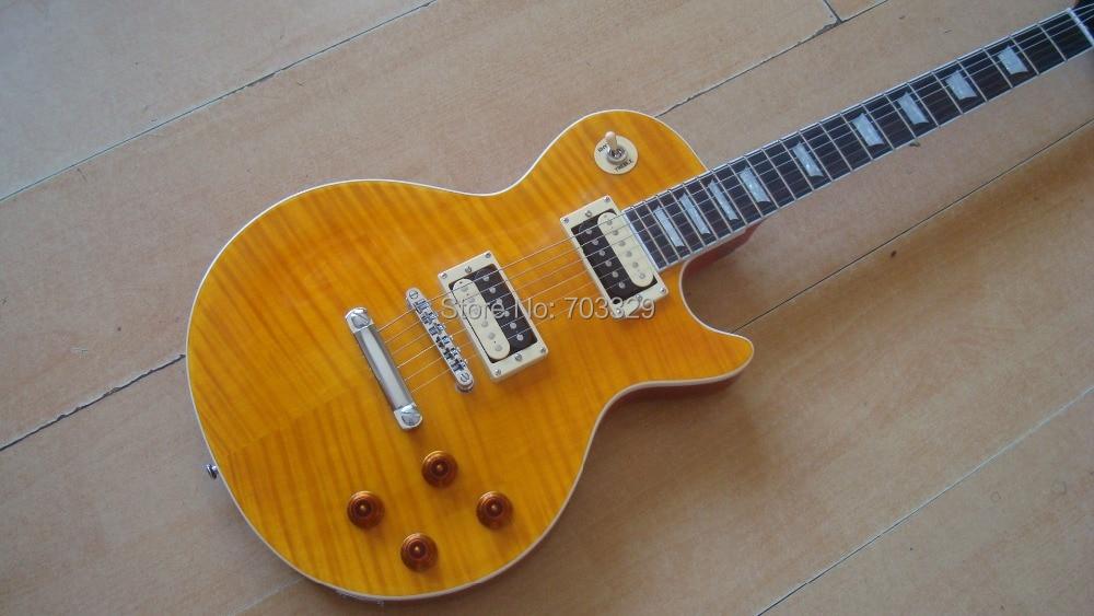 Nouvelle norme slash appétit jaune guitare fret fin contraignante cou pièce flame top zèbre ramassage tiger stripe mohogany corps