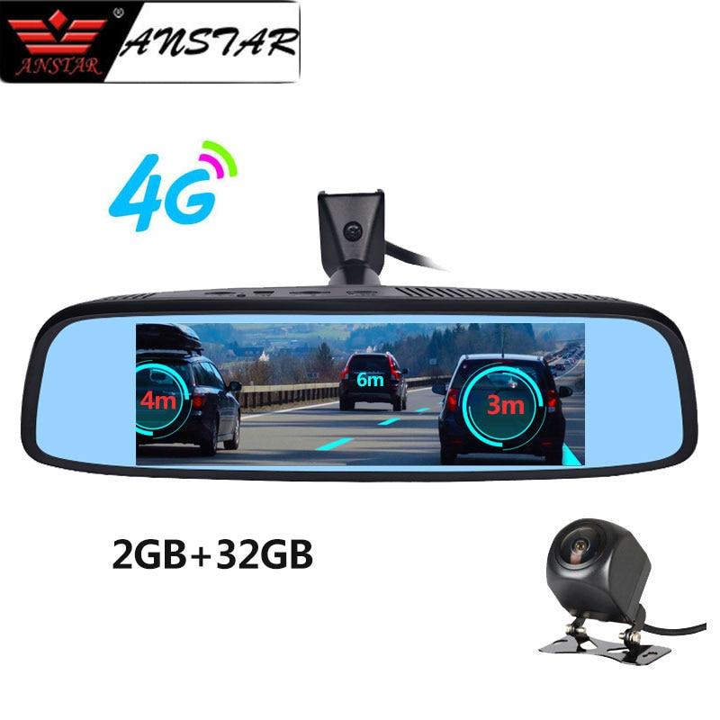 2019 ''8 ANSTAR DVR Espelho Retrovisor Do Carro 4G Android 2 GB + 32 GB Traço Cam HD 1080 P Câmera de Visão Noturna Automática GPS WIFI ADAS Secretário
