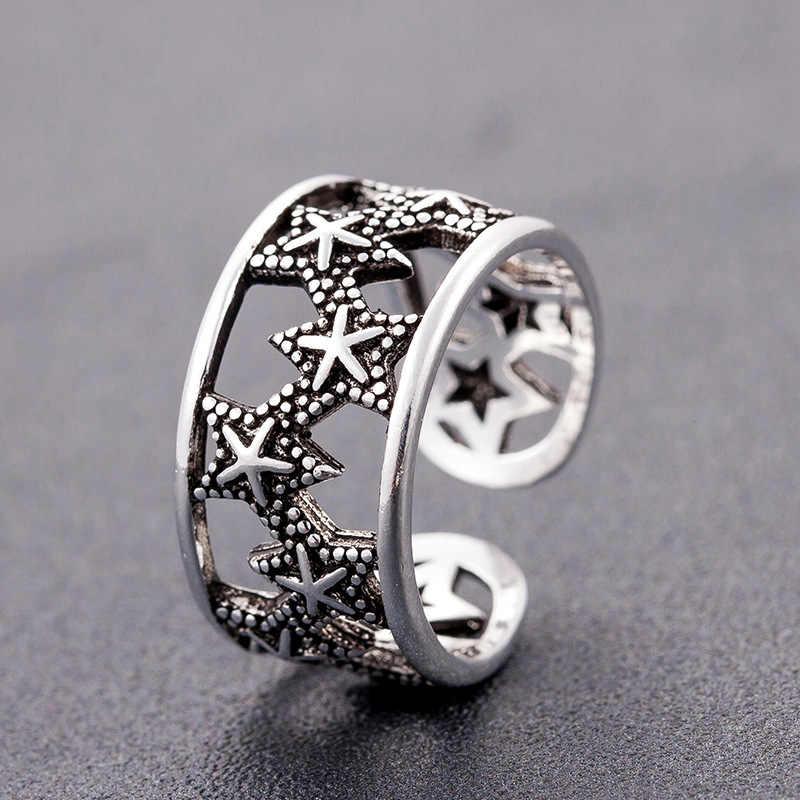 โบฮีเมียนใหญ่ Real 925 Sterling Silver Star Hollow แหวนผู้หญิงเครื่องประดับ Punk Vintage โบราณแหวนหมั้นแหวนของขวัญ