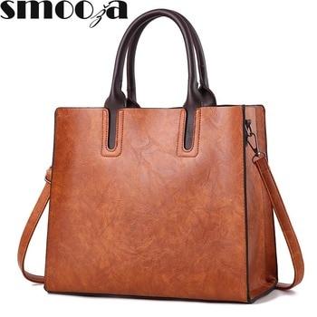SMOOZA trunk leather bag luxury brands women messenger bags women handbags designer high quality women bag shoulder tote bags grande bolsas femininas de couro