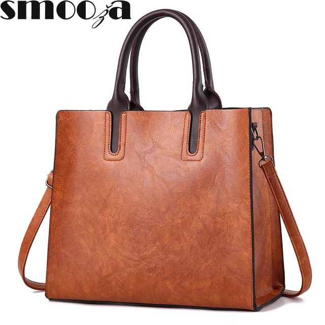 Smooza Trunk Leather Bag Luxury Brands Women Messenger Bags Handbags Designer High Quality