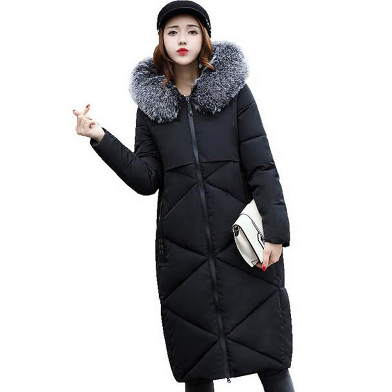 Winter Women Long Hooded Padded Coat Casual Warm Parkas Faux Fur Collar Jacket Outerwear Female Wadded Thick Cotton Coats PW1022 jolintsai winter jacket women mid long hooded parkas mujer thick cotton padded coats casual slim winter coat women