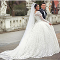 Robe De Mariage Elegant Sheer Long Sleeve Full Lace Ball Gown Wedding Dresses Luxury 2017 Bridal Gown Wedding Dress Plus Size