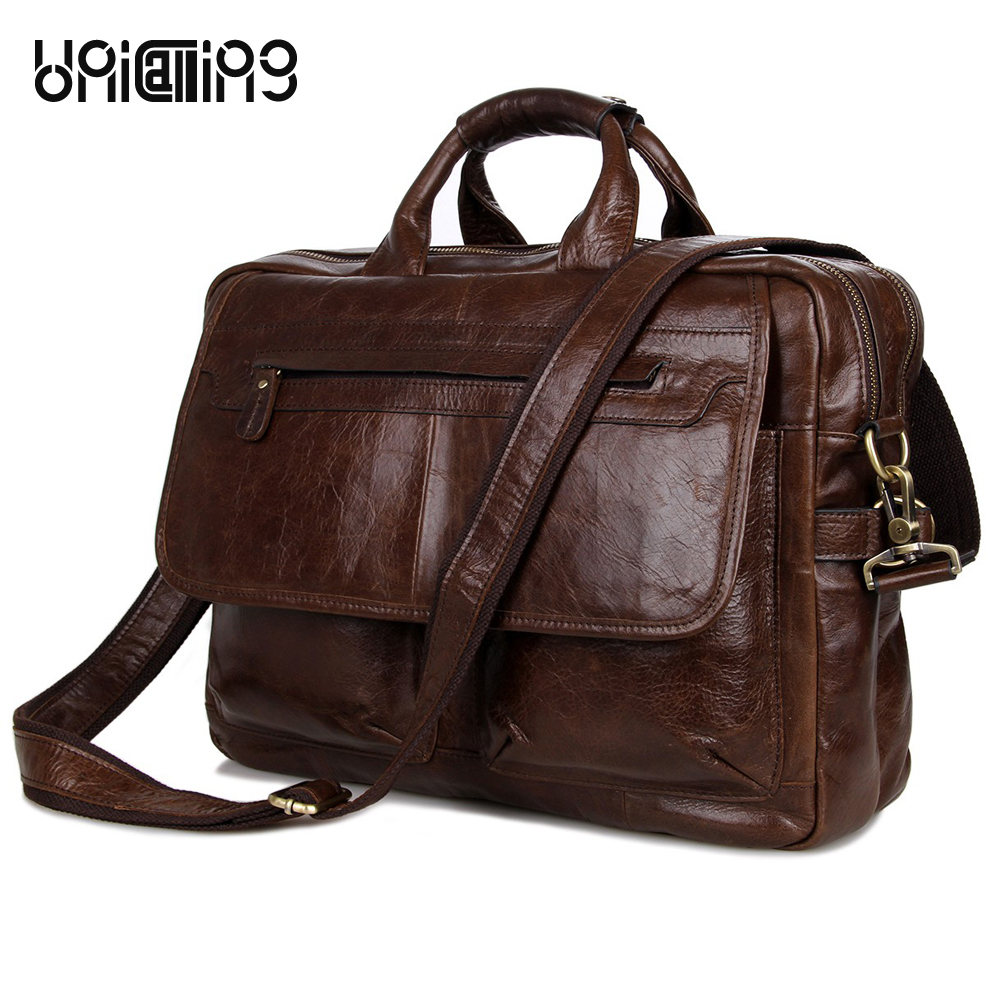 Men's business bag fashion vintage men leather handbag double-zipper space genuine leather men laptop bag 15.6 inch shoulder bag