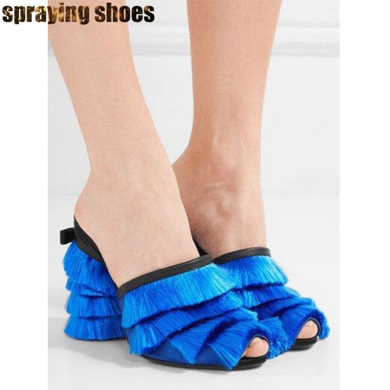 Na moda borla chunky salto alto sandálias femininas verão chinelos azul/rosa cetim praça bombas peep toe senhoras vestido de festa sapatos novo - 5