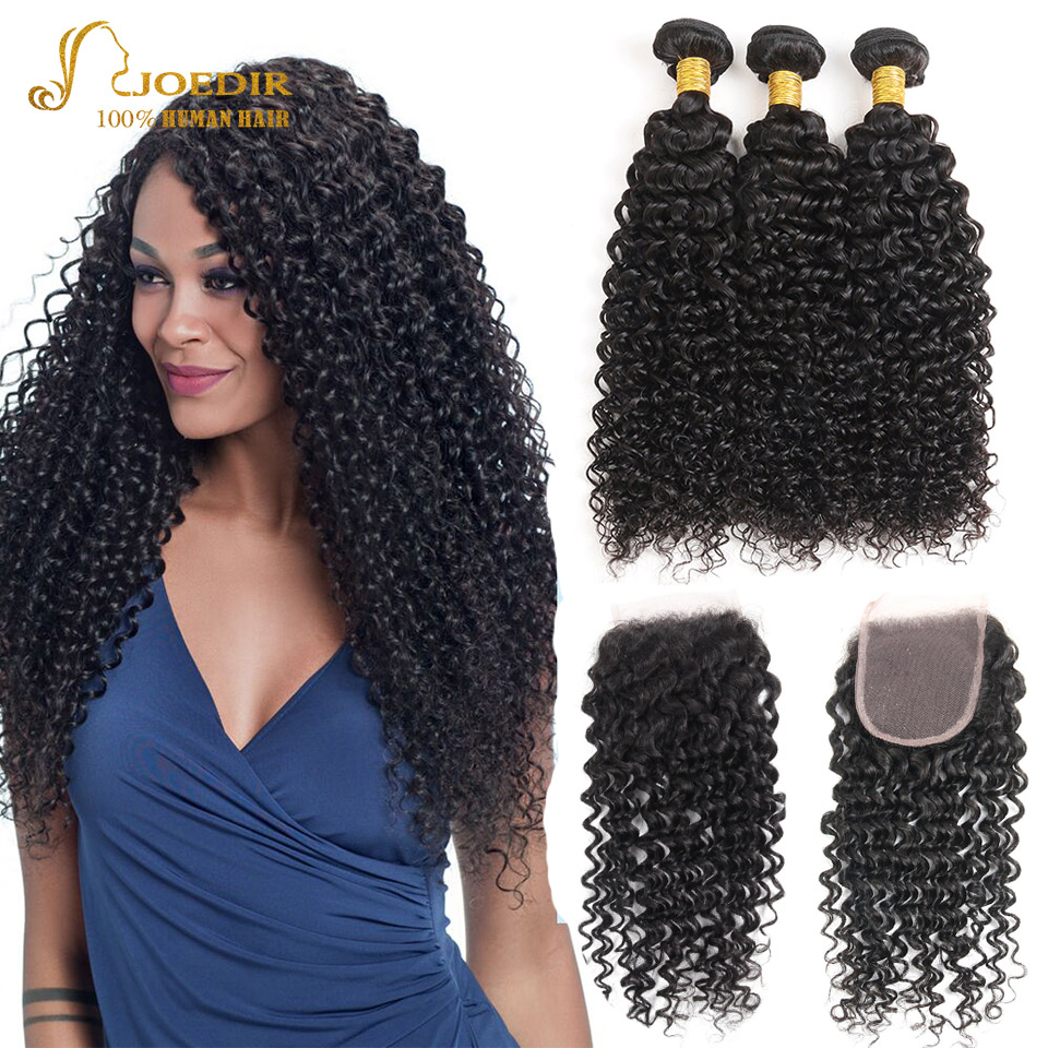 Joedir Malaysian Hair Kinky Curly Human Hair Bundles with Lace Closure Non-remy Weave 3 Bundles with Closure Free Shipping