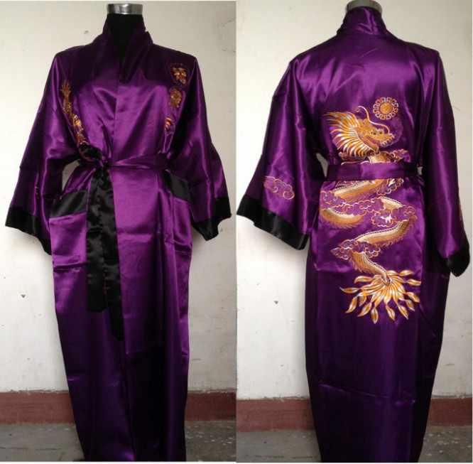 Miễn phí vận chuyển Tím đen Reversible Two-face Trung Quốc Người Đàn Ông của Silk Robe Satin Thêu Rồng Kimono Bath Gown KÍCH THƯỚC m-3XL SZ-4