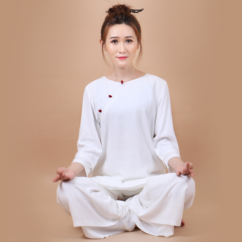 2018 Style chinois automne coton et lin Yoga costumes femmes bouton manuel Tang costume hauts pantalons chinois vêtements Blouse