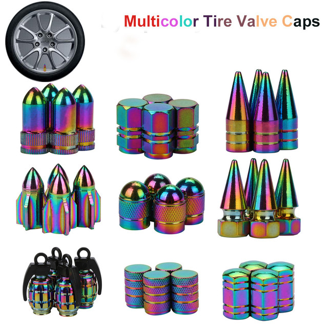 4PCS Neon lights Color Aluminum Car tire valve caps Bullet  design Car Truck Air Port Cover Tire Rim Valve Wheel Stem Cap 11.27