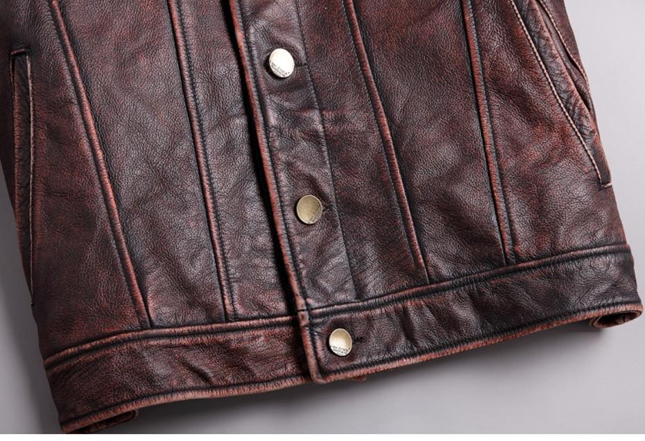 HTB1GMnnRgHqK1RjSZFEq6AGMXXaK mens cowhide jacket Vintage Men 100% genuine leather Jackets Cow Jackets Zipper Stand Streetwear Leisure cool warm coat 18687-5