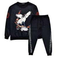 2019 New Hot Men Spring lovers 3D Set Sweatshirt Suit Men Track Suits Set Coat+Pants Outwear Print Chinese Crane