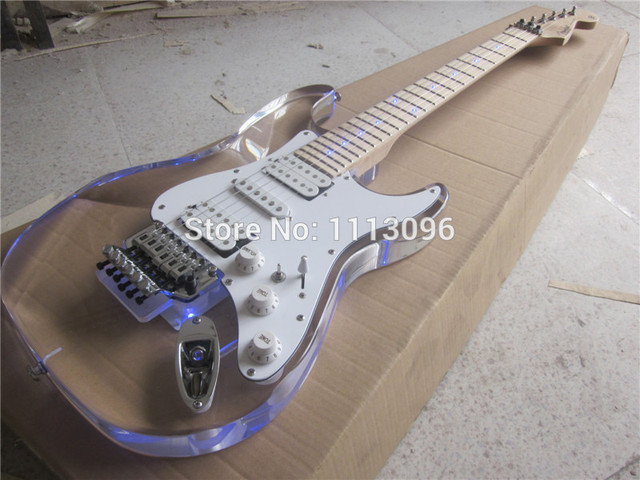 Cheap Free shipping+electric guitar+st guitarra/maple neck Acrylic body electric guitar/with LED+tremolo