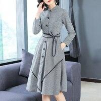 2018 Autumn Winter Dress Women Buttons Houndstooth Plaid Office Dresses Laides Pocket Elegant Vintage Long Sleeve Dress Party