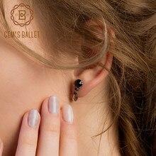 Gem's Ballet 2.48Ct Natural Three Round Black Garnet Gemstone Clip Earrings 925 Sterling Silver Earrings Fine Jewelry For Women