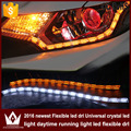 Night Lord 2pcs 8w White+Yellow Flexible Headlight Daytime Lamp Strip crystal Angel Eye DRL Decorative Light With Turn Signal
