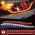 Night Lord 2pcs 8w White+Yellow Flexible Headlight Daytime Lamp Strip crystal Angel Eye DRL Decorative Light With Turn Signal