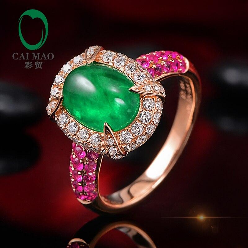 14K Rose Gold 2 15ct Natural Emerald 1 12ctw Diamonds Pink Sapphires Engagement Ring