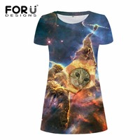 FORUDESIGNS Summer Dress 2017 Fashion Galaxy Universe Space Slim Woman Dress Sexy Short Casual Cotton Dress