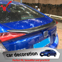 WK Brand Car Accessories ABS Carbon Fiber Rear Tail Spoiler Trunk Wing Cover Trim for HONDA Civic 2016 2017 Car Styling