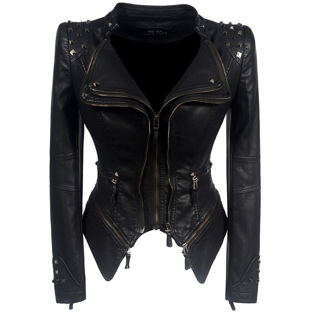 Women PU Jackets Casual Gothic Punk OL Ladies Plus Size Slim Lapel Zipper Rivet Pockets Spring 2019 Female Fashion Black Coats