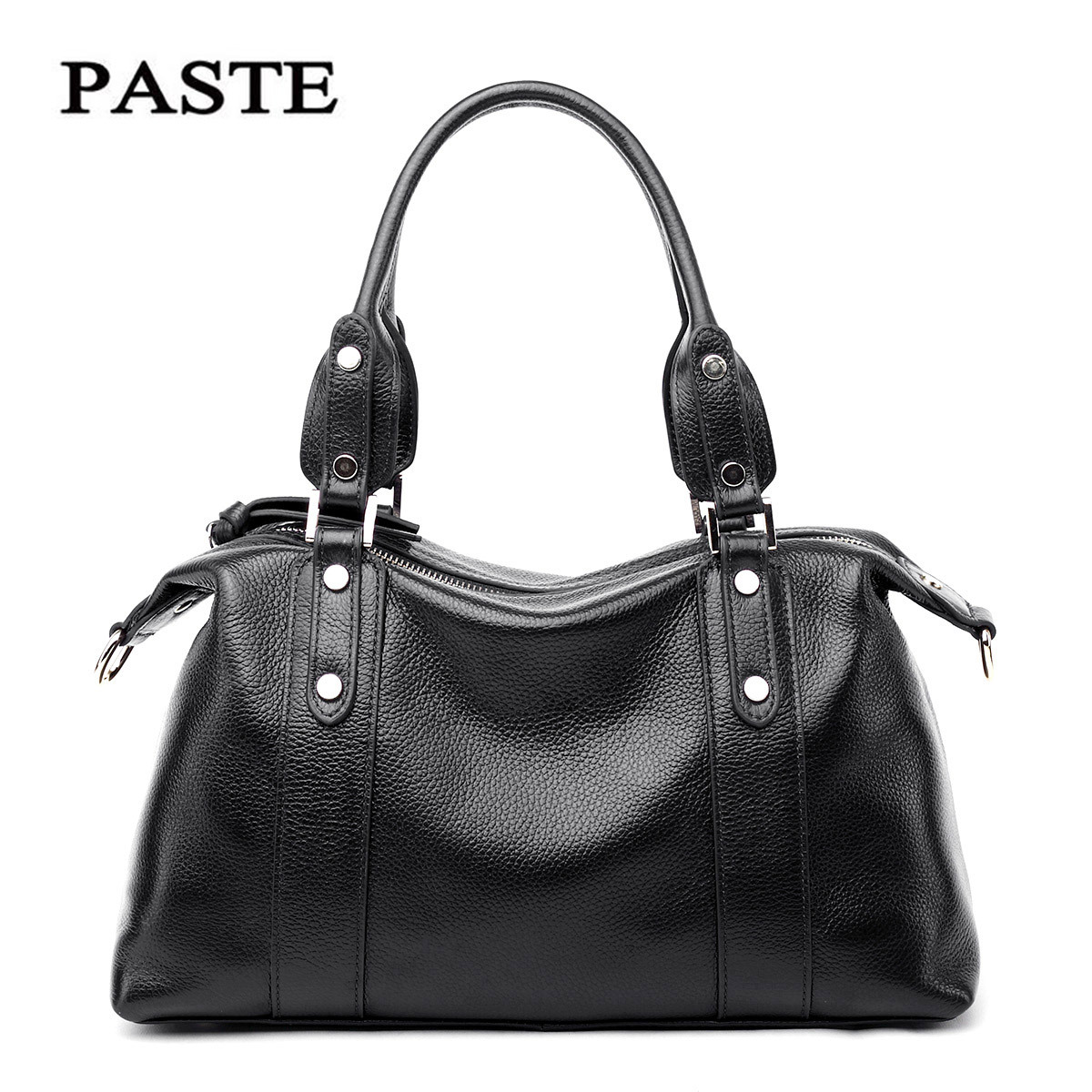 Layer Cowhide Women Bag New Style Rivet Shoulder Bag Genuine Leather Women Messenger Bags  Soft  Leather  Handbag women new handbags retro genuine leather handbag shoulder bag head layer cowhide messenger bags female pure hand made bags