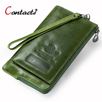 Contact's Women Genuine Leather Wallet Coin Purse Female Luxury Women Wallet Card Holder Phone Money Bag Long Ladies Wallet
