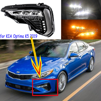 For KIA Optima K5 2019 DRL 2pcs LED Daytime Running Lights with Yellow Turn Signal Function Waterproof IP67 Fog Lamps fog lights